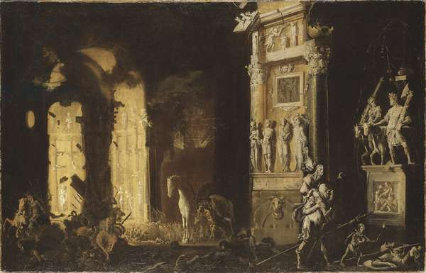 The Fire of Troy with Aeneas Carrying Anchises, by Nome, Francois de (1593-after 1630). Oil on canvas. Dimension : 116x182,5 cm. Nationalmuseum Stockholm