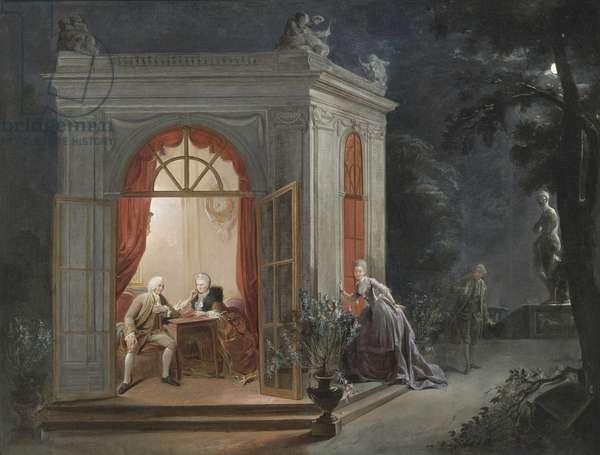 Le contrat de mariage ou l'attente nerveuse - The Marriage Contract par Jean Baptiste Andre Gautier Dagoty (1740-1786), - Oil on canvas, 104x136 - Private Collection