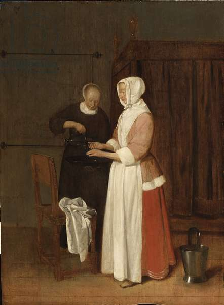Une femme lave ses mains - A Woman Washing her Hands, by Brekelenkam, Quiringh van (ca 1622-ca 1669). Oil on wood, 1662. Dimension : 47,8x35,7 cm. Nationalmuseum Stockholm