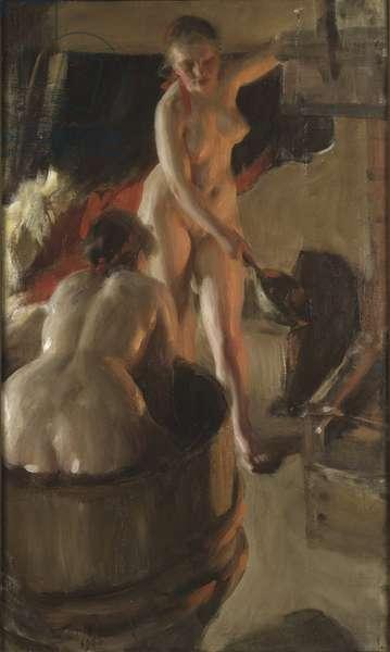Filles de Dalecarlie prenant un bain - Girls from Dalarna Having a Bath, by Zorn, Anders Leonard (1860-1920). Oil on canvas, 1906. Dimension : 84x50,5 cm. Nationalmuseum Stockholm