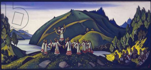 """Decor for the ballet """"The Rite of Spring"""" by Igor Stravinsky, 1945 (tempera on canvas)"""