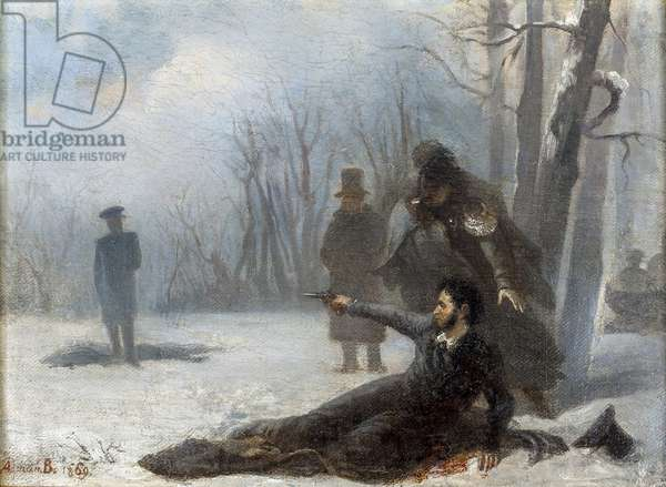 Le dernier tir d'Alexandre Pouchkine (1799-1837) - Duel between Alexander Pushkin and Georges d'Anthes par Volkov, Adrian Markovich (1827-1873). Oil on canvas, 1869, A. Pushkin Memorial Museum, St. Petersburg