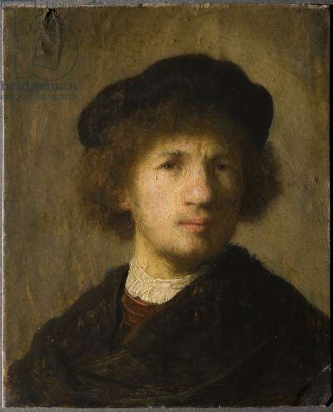 Autoportrait - Self-Portrait par Rembrandt van Rhijn (1606-1669), 1630 - Oil on copper, 15,5x12 - Nationalmuseum Stockholm