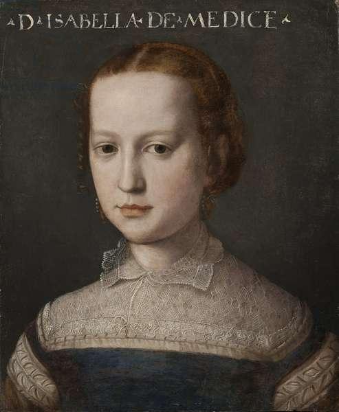 Isabelle Romola de Medicis - Portrait of Isabella de' Medici (1542-1576), by Bronzino, Agnolo (1503-1572). Oil on wood. Dimension : 44x36 cm. Nationalmuseum Stockholm