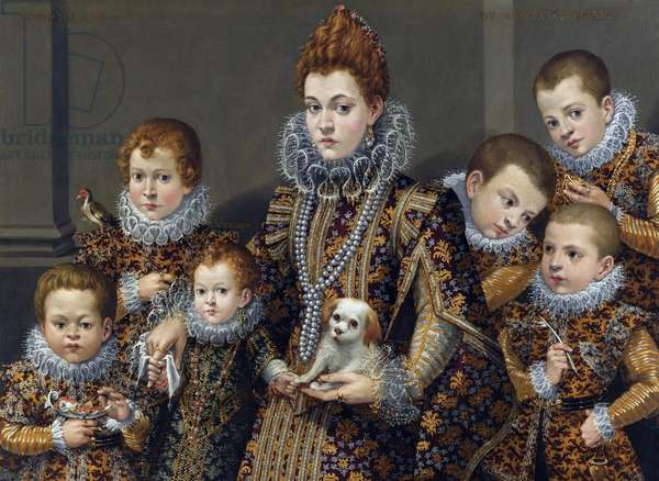 Portrait of Bianca degli Utili Maselli with her six children, c. 1605 (Oil on canvas)