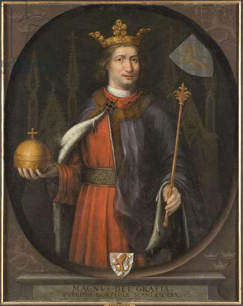 Magnus IV de Suede - Portrait of Magnus Eriksson (1316-1374), King of Sweden and Norway, Anonymous . Oil on canvas. Dimension : 136,5x111 cm. Nationalmuseum Stockholm