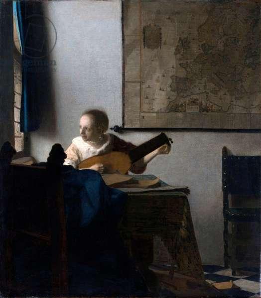 """""""""""Portrait de femme au luth"""""""" (Woman with a lute) Peinture de Jan Vermeer (Johannes) (1632-1675) vers 1663 - Oil on canvas Dim 51,4x45,7 cm Metropolitan Museum of Art, New York"""