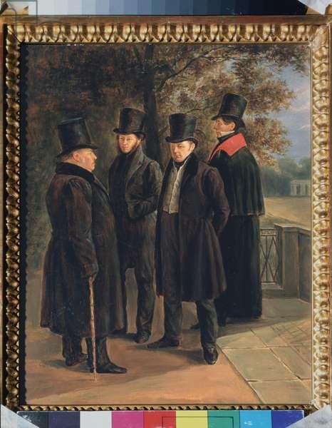 Portrait of the poets Alexandre Pouchkine (1799-1837), Ivan Krylov (1769-1844), Vassili Joukovski (1783-1852) and Nicolai Gnedich (1734-1833), 19th century (oil on canvas)