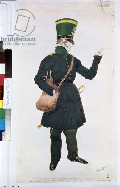 """the postman  costume for the ballet """"La fee des poupees"""" directed by Joseph Bayer (1852-1913), 1903 (watercolour)"""