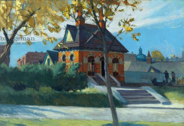 Small town station,1918-1920 (oil on canvas)