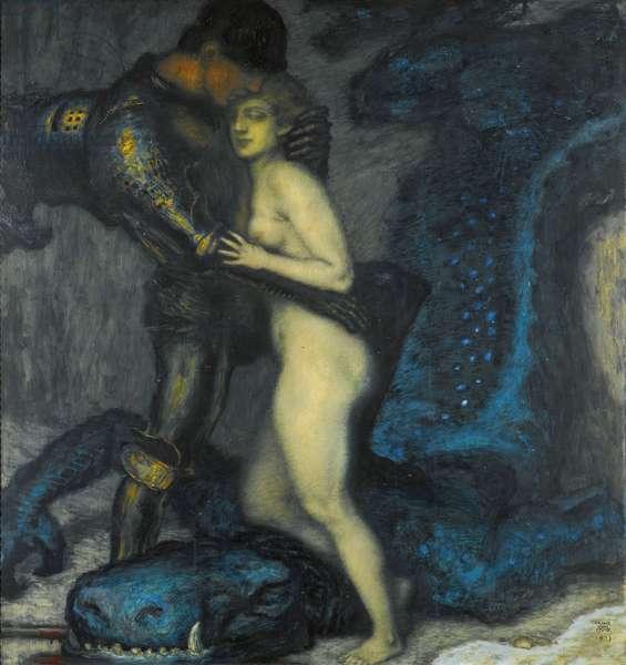 """""""""""Le tueur de dragons"""""""" (The Dragonslayer) Peinture de Franz Ritter von Stuck (1863-1928) 1913 Collection privee"""