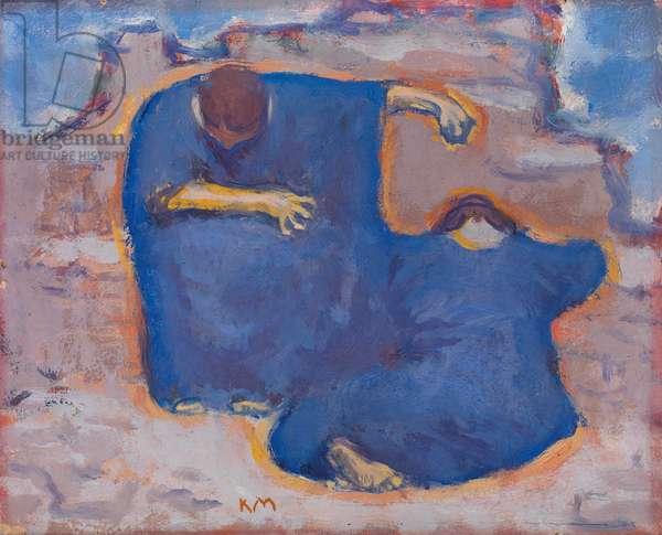 """""Pleureuses"""" (Mourning women) - Peinture de Koloman Moser (1868-1918) vers 1913 - Oil on cardboard - Dim 28x34,5 cm Private Collection"