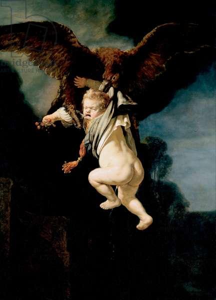 """""""""""l'enlevement de Ganymede"""""""" (The Abduction of Ganymede) Alors qu'il fait paitre son troupeau sur le mont Ida de Troade, Zeus se transformant en aigle, l'enleve pour en faire son amant, et l'echanson des dieux Peinture de Rembrandt van Rhijn (1606-1669) 1635 Dim 177x129 cm Oil on canvas Dresden State Art Collections Dresde"""