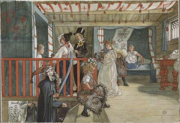 Un jour de fete - A Day of Celebration, by Larsson, Carl (1853-1919). Watercolour on paper, 1895. Dimension : 32x43 cm. Nationalmuseum Stockholm