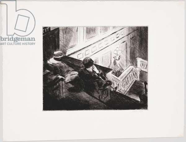"""""""""""Le balcon"""""""" (The balcony) Dessin d' Edward Hopper (1882-1967) 1928 Whitney Museum of American Art, New York  Attention! L'utilisation de cette oeuvre peut etre soumise a une demande d'autorisation a un tiers ou au paiement de droits supplementaires"""