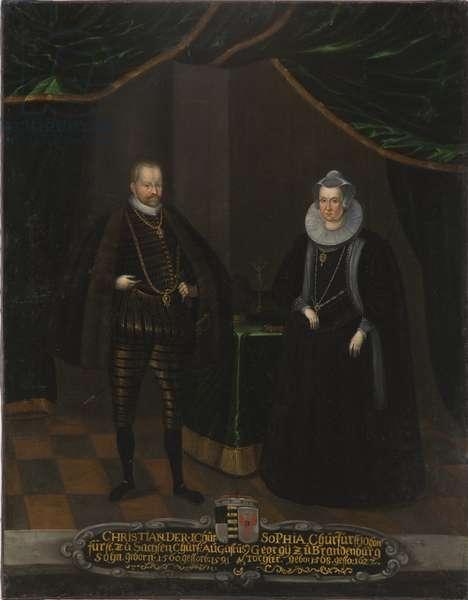 Christian I de Saxe et Sophie de Brandebourg - Portrait of Christian I (1568-1622), Elector of Saxony and Sophie of Brandenburg (1568-1622), Electress of Saxony, Anonymous . Oil on canvas. Dimension : 102,5x79 cm. Nationalmuseum Stockholm
