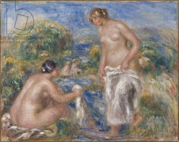 Femmes au bain - Bathing Women, by Renoir, Pierre Auguste (1841-1919). Oil on canvas. c. 1915-1916. Dimension : 40,5x51 cm. Nationalmuseum Stockholm