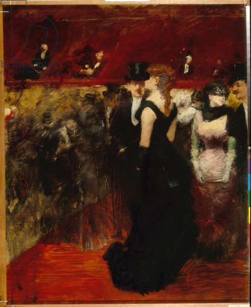 """""Bal a l'opera de Paris"""" (Ball at the Paris Opera) Peinture de Jean-Louis (Jean Louis) Forain (1852-1931) - Oil on canvas Dim 74x61 cm State A Pushkin Museum of Fine Arts, Moscou"