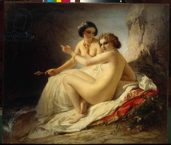 """""Deux jeunes filles dans une grotte"""" (Two girls in a grotto) Peinture de Timofei Neff (Carl Timoleon von Neff) (1805-1876) - 1859 - Oil on canvas - State Russian Museum, St Petersbourg"