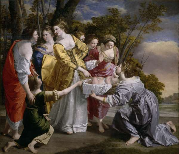 La decouverte de Moise - The Finding of Moses - Peinture de Orazio Gentileschi (1563-1638), 1633 - Oil on canvas, 242x281 - Museo del Prado, Madrid