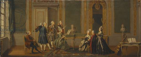 Interieur de style Gustavien avec fete musicale - Gustavian Style Interior with a Musical Party, by Hillestrom, Pehr (1732-1816). Oil on canvas, 1779. Dimension : 56x144,5 cm. Nationalmuseum Stockholm