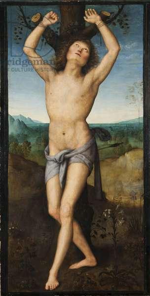 Saint Sebastien - Saint Sebastian, by Perugino (ca. 1450-1523). Oil on wood. Dimension : 174x88 cm. Nationalmuseum Stockholm