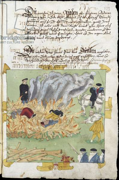 Sorcieres - The Burning of three witches in Baden on November 4, 1585 par Wick, Johann Jakob (1522-1588). Watercolour and ink on paper, size : 17x18, 1585, Zentralbibliothek Zuerich