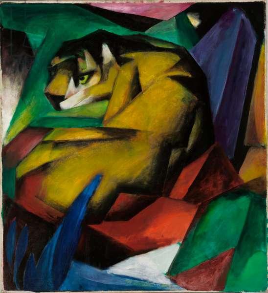 """""""""""Le tigre"""""""" (The tiger) Peinture de Franz Marc (1880-1916) - 1912 - Oil on canvas Dim 115x101,5 cm Staedtische Galerie im Lenbachhaus, Munich"""
