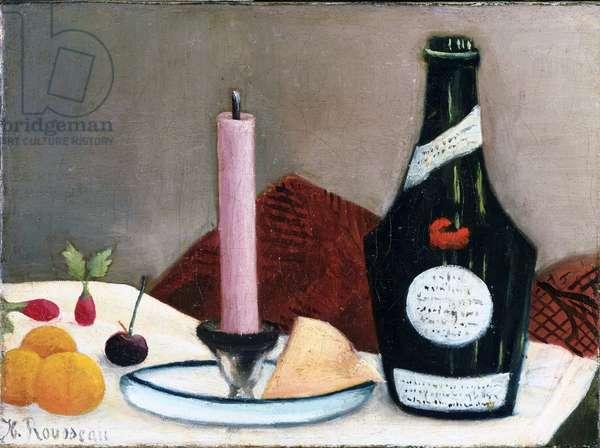 """""""""""Nature morte a la bougie rose"""""""" (Still life - the pink candle) Peinture de Henri Rousseau dit le Douanier (1844-1910) 1909 The Phillips Collection, Washington, D.C."""