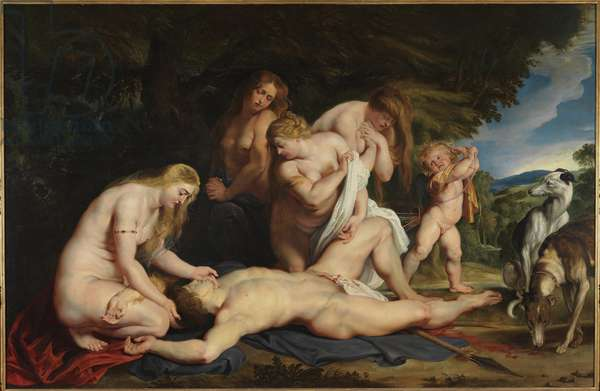La mort d'Adonis (le deuil de Venus) - The Death of Adonis (Venus Mourning Adonis), by Rubens, Pieter Paul (1577-1640). Oil on canvas, ca 1614. Israel Museum, Jerusalem