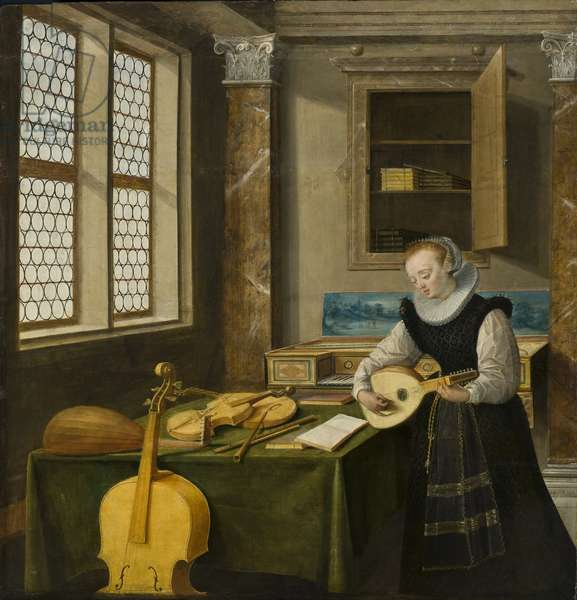 Dame jouant du luth - Lady Playing the Lute, by Steenwyck, Hendrick van, the Younger (1580-1649). Oil on wood. Dimension : 65x64 cm. Nationalmuseum Stockholm