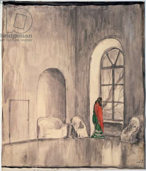 Lisa at the window, stage design for the play 'Nikolay Stavrogin' after 'The Demons' by Fedor Dostoevsky, 1913 (w/c on paper)