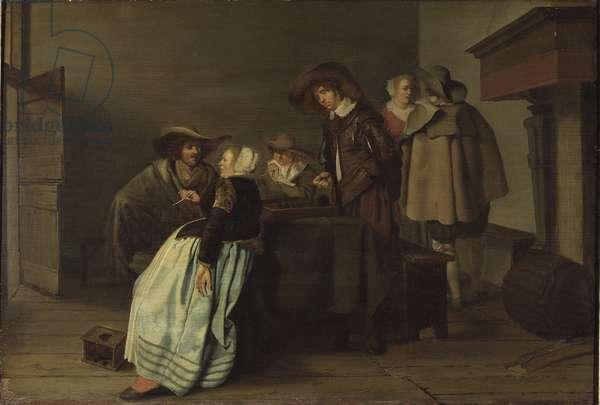 Une conversation - A Conversation, by Codde, Pieter (1599-1678). Oil on canvas, 1628. Dimension : 40x59 cm. Nationalmuseum Stockholm