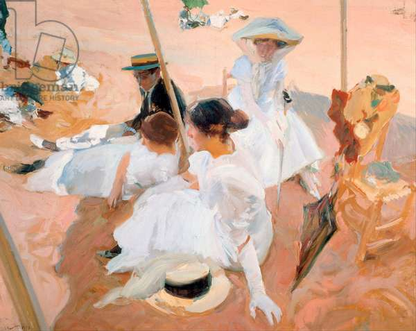 Under the Parasol, on the Beach at Zarautz, 1905 (oil on canvas)
