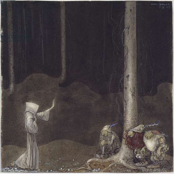 Frere Martin et les trois trolls - Brother Martin and Three Trolls, by Bauer, John (1882-1918). Watercolour on paper, 1913. Dimension : 25x25 cm. Nationalmuseum Stockholm