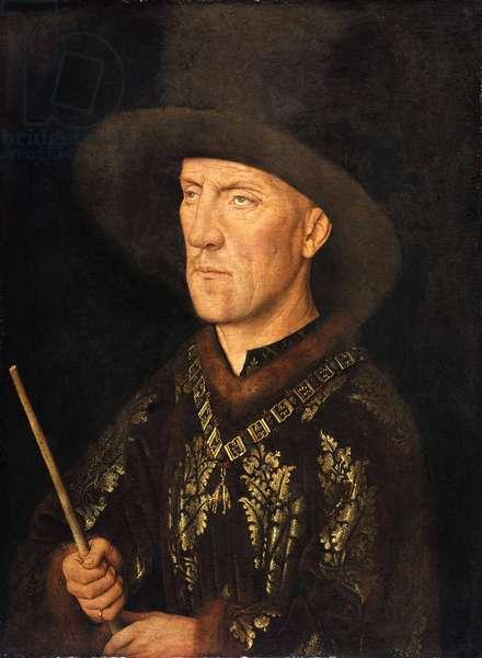 """""Portrait de Baudouin de Lannoy seigneur de Molembais, dit le Begue (1388-1474)"""" Peinture de Jan van Eyck (1390-1441), ca 1435 - Oil on wood, 26x20 - Staatliche Museen, Berlin"