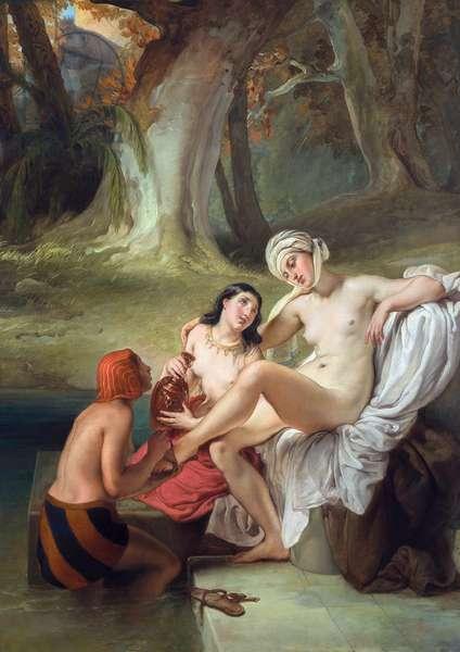 Bathseba im Bade by Hayez, Francesco (1791-1882). Oil on wood, 1845, Dimension : 107x77. Pinacoteca di Brera, Milan