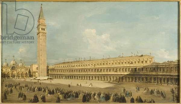 Place Saint Marc, Venise - Piazza San Marco, Venice, by Guardi, Francesco (1712-1793). Oil on canvas. Dimension : 50x85 cm. Nationalmuseum Stockholm