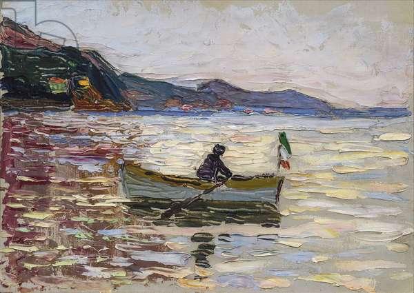 """""Vue sur Rapallo avec bateau sur la mer"""" (Rapallo Boat On The Sea) Peinture de Vassily Kandinsky (ou Wassily Kandinski ou Kandinskij, 1866-1944) 1906  Franz Marc Museum, Kochel am See"