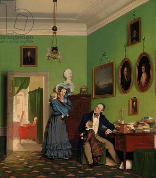 """""""""""Portrait de la famille de Christian Waagepetersen (1787-1840) dans leur maison a Copenhague, Danemark"""""""" Peinture de Wilhelm bendz (1804-1832) Oil on canvas 1830 Dim 99,5x88,5 cm Statens Museum for Kunst, Copenhague"""