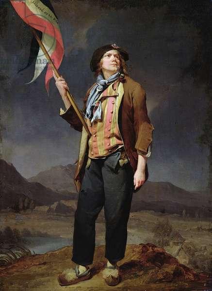 """Portrait du chanteur Simon Chenard (1758-1832) en costume de sans culotte portant un drapeau a la fete de la liberte de la Savoie, le 14 octobre 1792"""""""" Peinture de Louis Leopold Boilly (1761-1845). 1792. Dim. 0,33x0,22 m. Paris, musee Carnavalet"""