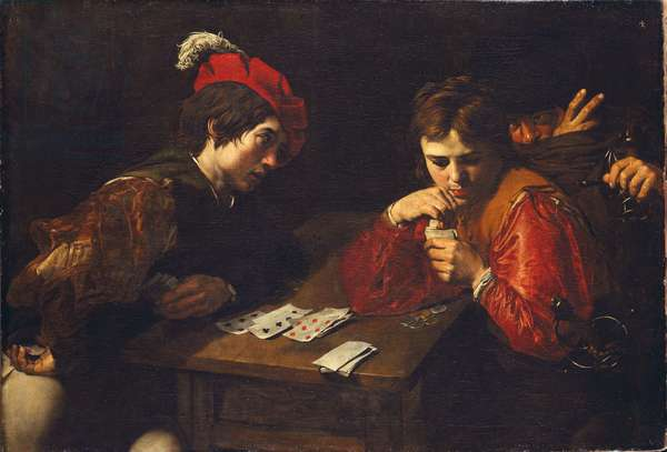 The Cardsharps, by Valentin de Boullogne (1591-1632). Oil on canvas, c. 1615. Dimension: 94.5x137 cm. Dresden State Art Collections