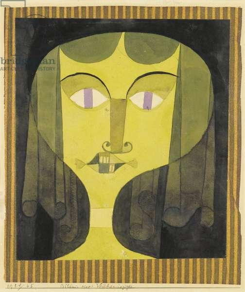 """""""""""Portrait de femme aux yeux violets"""""""" (Portrait of a violet-eyed woman) Aquarelle de Paul Klee (1879-1940) - 1921 - Dim 22,1x19 cm Private Collection"""