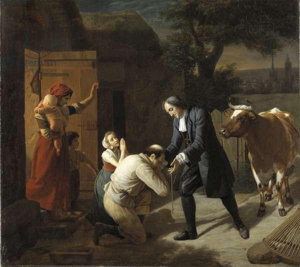 Francois Fenelon (1651-1715) rapporte une vache volee a un paysan - Fenelon returns a Stolen Cow to a Peasant, by Hersent, Louis (1777-1860). Oil on canvas. Dimension : 97,5x109,5 cm. Nationalmuseum Stockholm