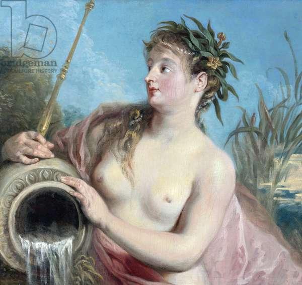 La nymphe du printemps - The Nymph of the spring par Watteau, Jean Antoine (1684-1721). Oil on canvas, size : 74,3x78,4 - Private Collection
