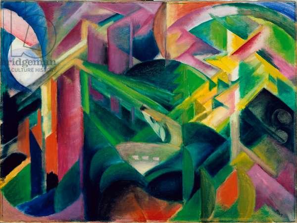 """""Une biche dans un enclos"""" (Deer in Cloister Garden) Peinture de Franz Marc (1880-1916) 1912 - Oil on canvas Dim 75,7x101 cm Staedtische Galerie im Lenbachhaus, Munich"