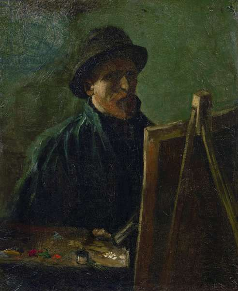 Self-portrait at the easel par Gogh, Vincent, van (1853-1890). Oil on canvas, size : 46,5x38,5, 1886, Van Gogh Museum, Amsterdam