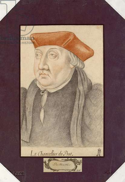 Portrait of Antoine Duprat (1463-1535), Anonymous. Black chalk and sanguine on paper, size : 30,2x19,1, First Half of 16th cen., State Hermitage, St. Petersburg