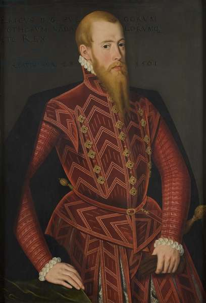 Eric XIV de Suede - Portrait of King Eric XIV of Sweden (1533-1577), by Verwilt, Domenicus (active 1544-1566). Oil on wood. Dimension : 103x69 cm. Nationalmuseum Stockholm