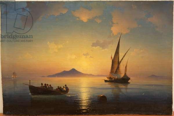 The Bay of Naples par Aivazovsky, Ivan Konstantinovich (1817-1900), 1841 - Oil on canvas, 72,6x108,5 - State Open-air Museum Peterhof, St. Petersburg